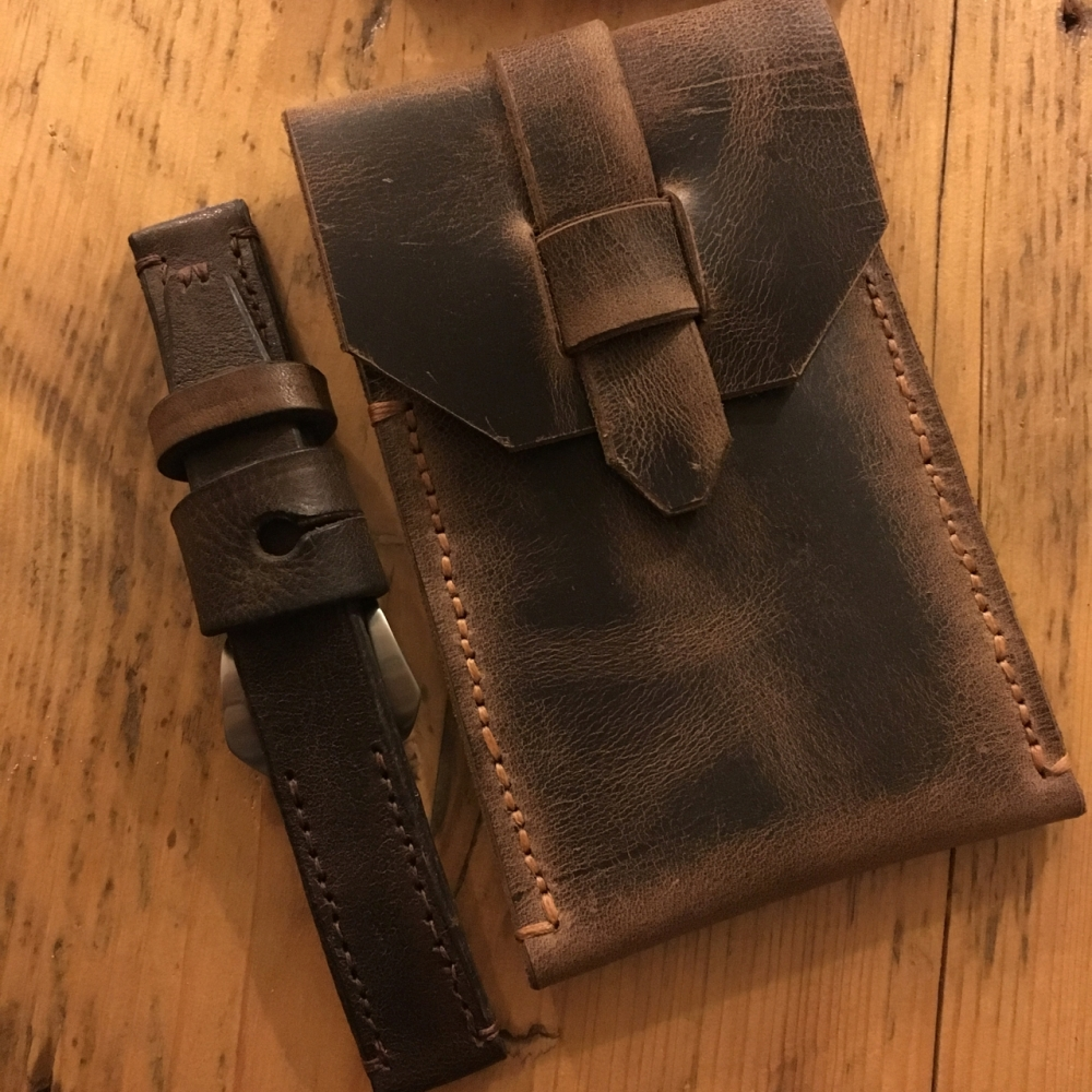 vintage leather ammo pouch watch strap - 2